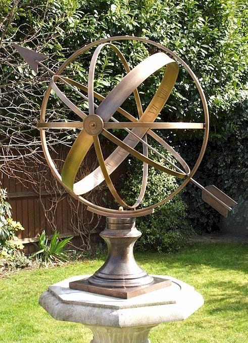 [ A typical brass 'Armillary Sphere' sundial ]